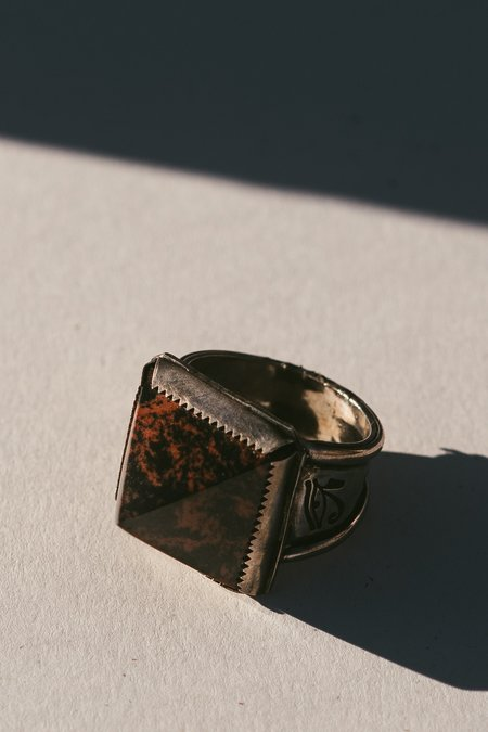 Morgaine Faye Red Obsidian Pyramid Wadjet Ring