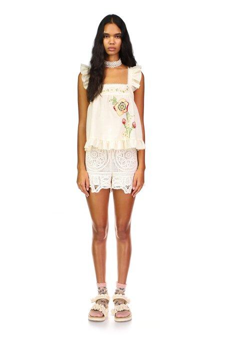 Anna Sui Crochet & Eyelet Florets Shorts