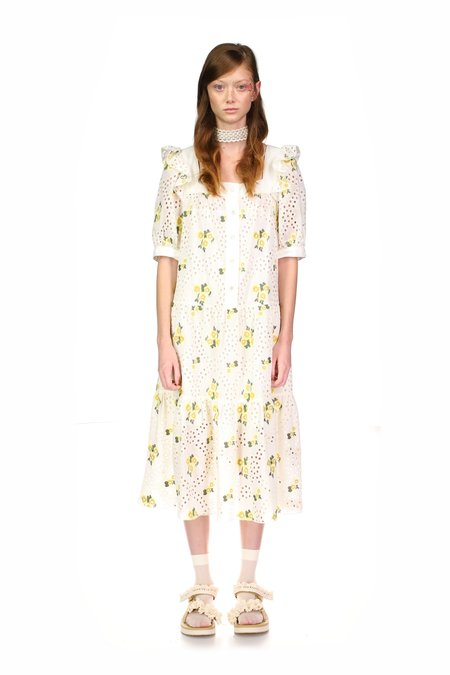 Anna Sui Pansy Eyelet Embroidered Puff Sleeve Dress - Cream Multi