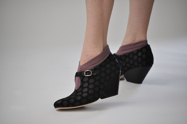 The Palatines Shoes inesco mary jane w sculpted heel -  black dot suede