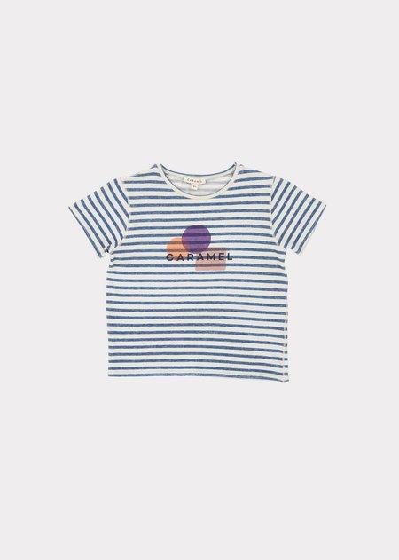 Kids Caramel Otter T-Shirt - Blue/Ivory Stripe Print Shapes