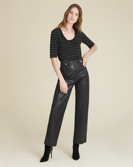 Veronica Beard Brinley High Rise Coated Trouser - Black