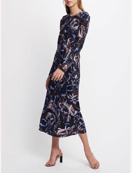 Silk Laundry Full Sleeve Bias Cut Dress - snake