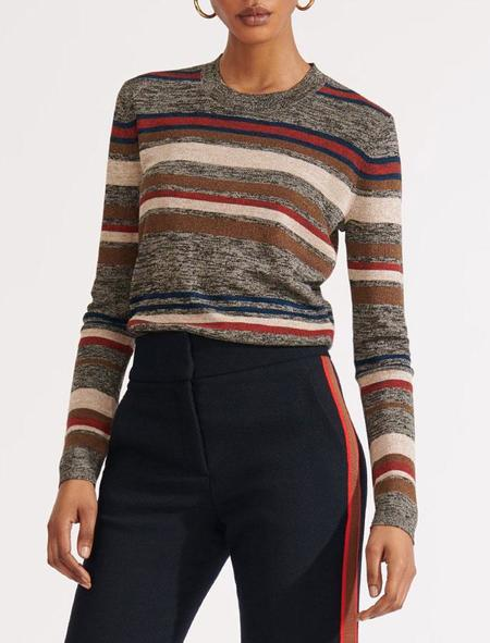 Veronica Beard Jora Cropped Pullover - Multi