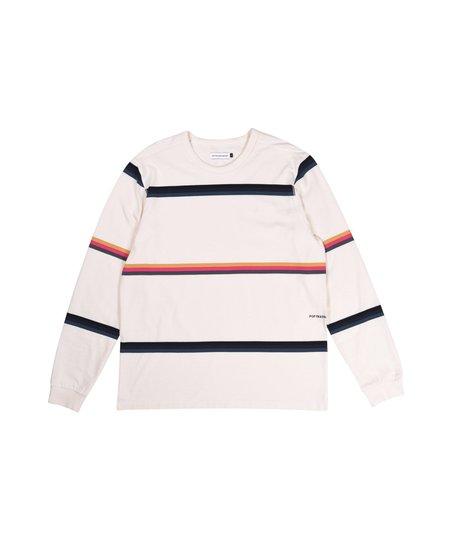 Pop Trading Company Striped Longsleeve T-Shirt - Off White