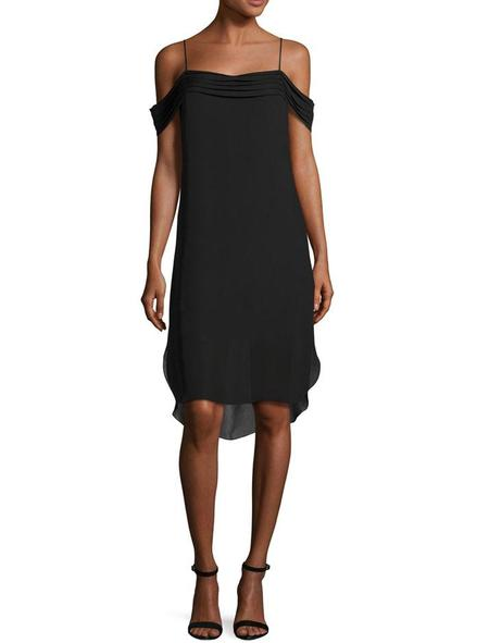 T By Alexander Wang Pleated Off-the-shoulder Dress - black