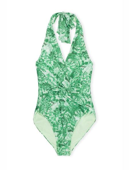 Ganni Recycled Fabric Twist Swimsuit - Patina Green