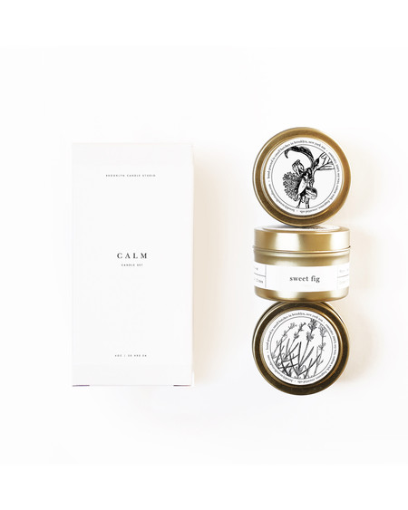 Brooklyn Candle Studio Calm gold travel candle set