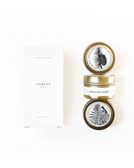Brooklyn Candle Studio Forest gold travel candle set