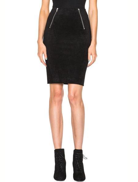 T By Alexander Wang Velveteen scuba zip skirt - black