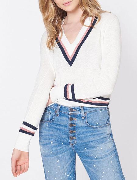 Veronica Beard Walton Sweater - Cream/Navy/Red