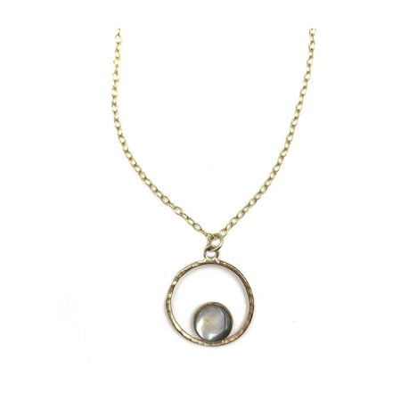 Olwen Abalone Eclipse Necklace - 14k gold filled