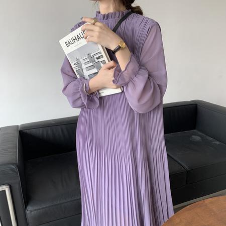 OPUSION Frill Mock Neck Long Sleeve Pleated Maxi Dress