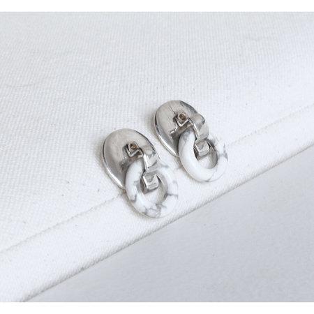 Open House Projects Bateau Earrings - Silver/Howlite