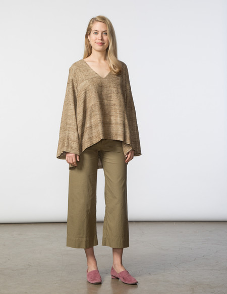SBJ Austin Pamela Top - Natural Woven Silk