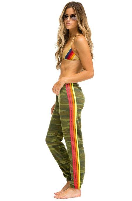 Aviator Nation 4 Stripe Sweatpants - Camo/neon