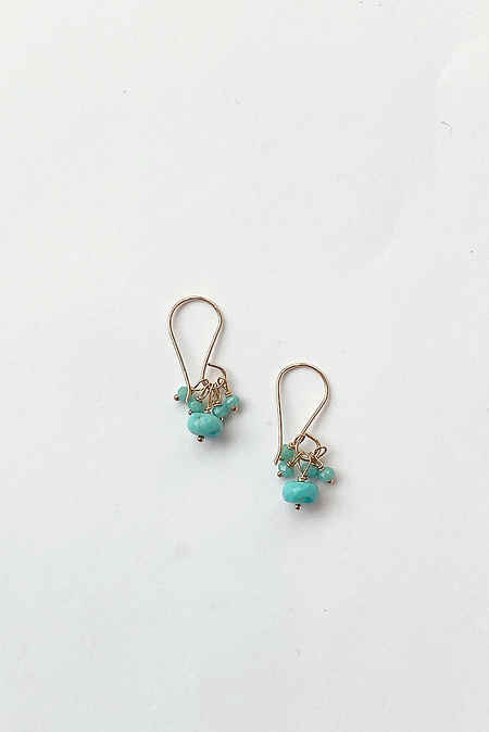 Debbie Fisher Turquoise Cluster Earring - Gold/Turquoise