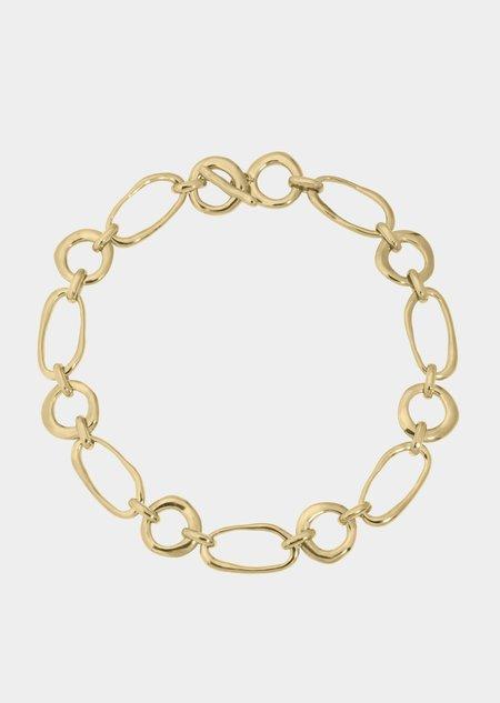 Modern Weaving Circle Oval Link Necklace - Bronze/14K