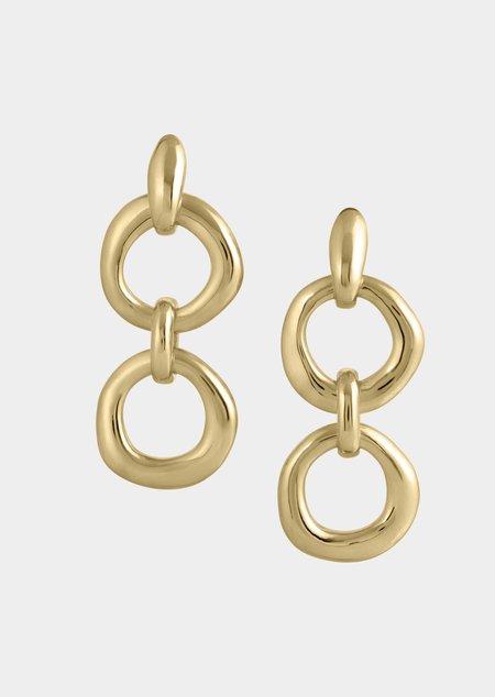 Modern Weaving Double Door Knocker Earrings - Bronze/14K