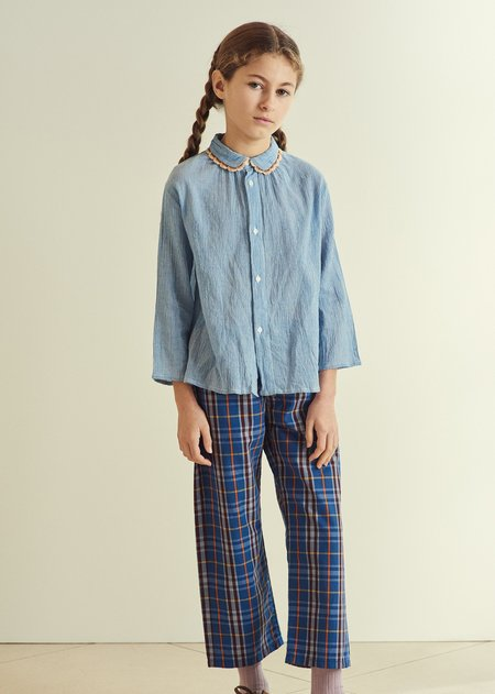 Kids Caramel Barnacle Trousers - Blue Check