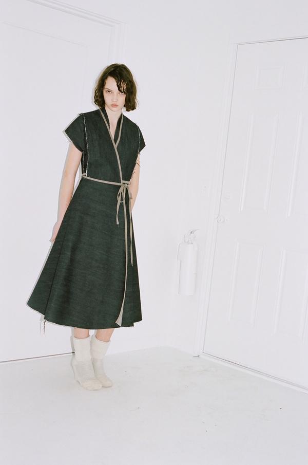 Alexa Stark Dark Denim Wrap Dress