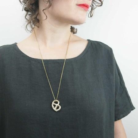 Gold Teeth Brooklyn Pretzel Necklace - Brass