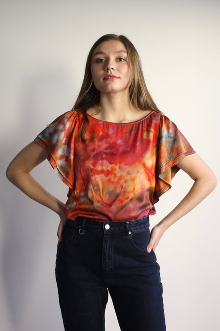 Myrtle Flutter Sleeve Silk Blouse