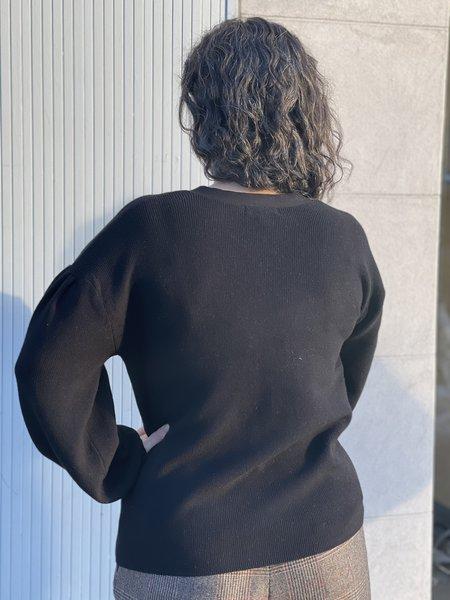 525 Made in America Pleat Sleeve Cardigan - Black