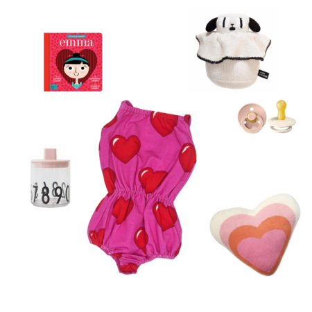 Romey Loves Lulu Hearts Bubble Romper - Pink