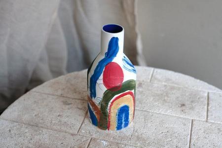 Sophie Alda Porcelain Bottle Vase - Brushstroke