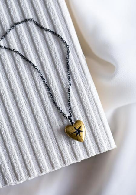 Acanthus Antique Star Heart Pendant Necklace - Silver/Gold