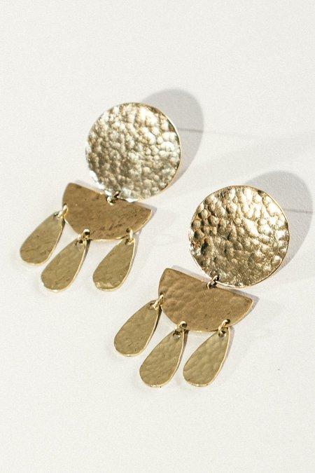 EMBR Jewelry Forged Moon Earrings - Brass