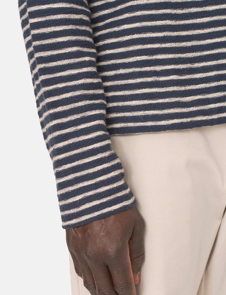 YMC X Striped Sweatshirt - Navy Blue/Ecru