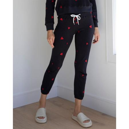 Monrow Embroidered Heart Sweatpants - FADEBLK