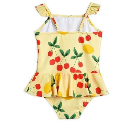Kids Mini Rodini Cherry Lemonade Skirt Swimsuit - Yellow
