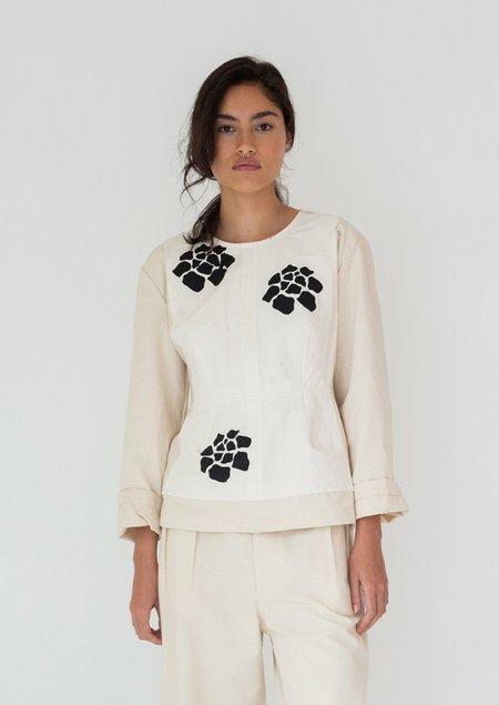 Caron Callahan Monica Slub Silk Cotton and Taffeta Top - Natural