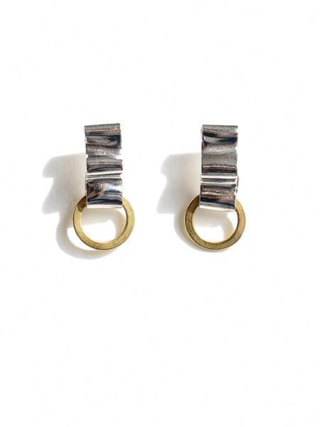 Michelle Ross Willa Earrings - Brass/Silver