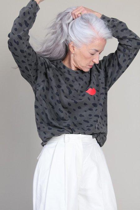 Clare V. Poppy Lips Crewneck - Faded Black/Navy Jaguar