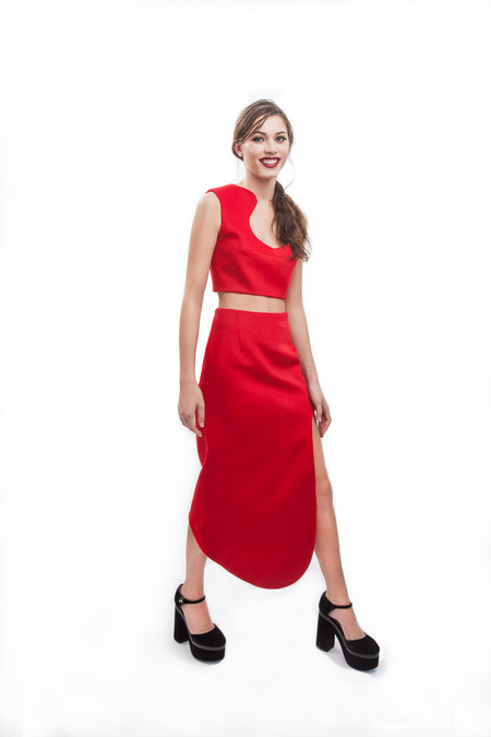 Karla Spetic Curve Contour Skirt - Red