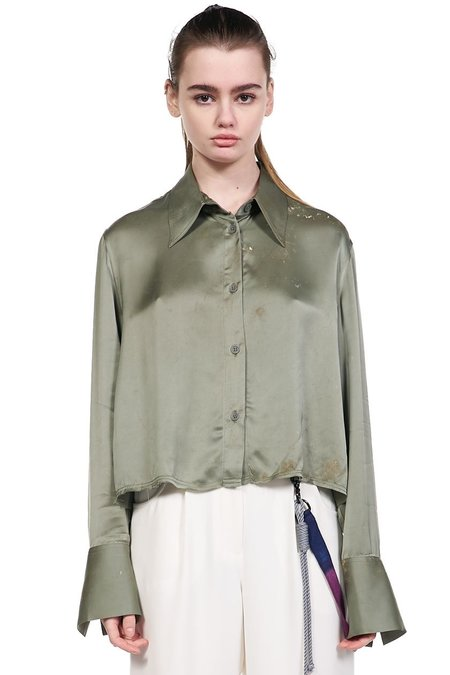 Song for the Mute Cropped Long Sleeve Shirt - Green Stained
