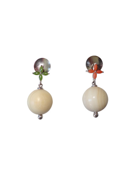 KVK Jewelry Coral, Jade & Woolly Mammoth Ivory Earrings