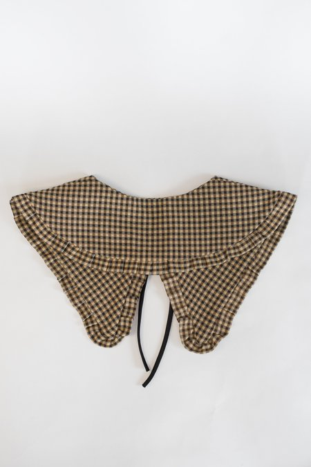 Serena Orlando Large Collar - Black/Tan Gingham