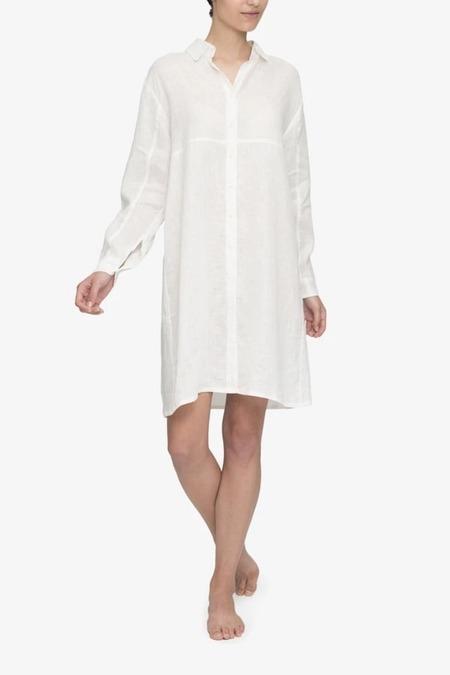 The Sleep Shirt Button Down - White Linen