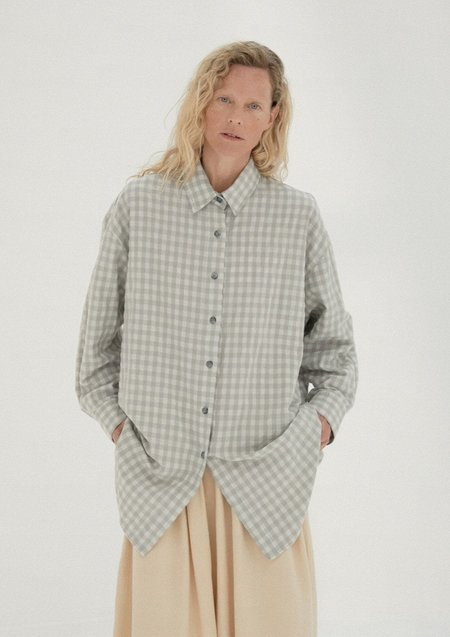 Mónica Cordera Checkered Shirt - Silver Blue