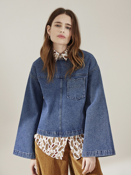 Nanushka Bell Sleeve Denim Top