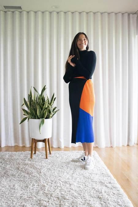 Issey Miyake Pleats Please Collage Skirt - Orange