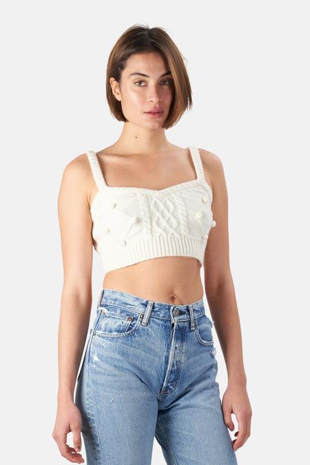 For Love & Lemons Florentina Sweater Tank Top - Cream