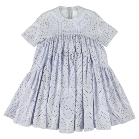Kids caroline bosmans broderie dress - sky