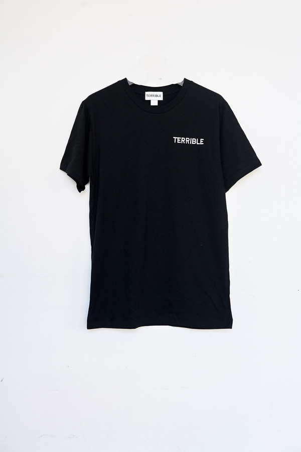 Unisex Terrible Records Cotton Embroidered T-shirt - Black