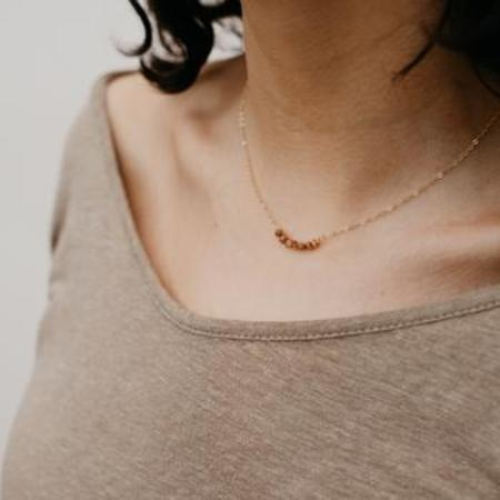 Tumble Stone Arch Necklace - gold-filled